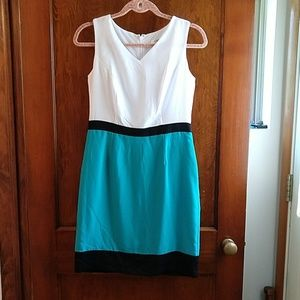 Color blocked teal, white, and black dress